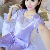 睡衣女夏短袖夏季套裝冰絲綢女士性感薄款家居服夏天可外穿兩件套   mandyc衣間