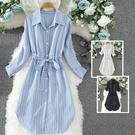 *ORead*韓版時尚條紋襯衣連身裙(3色M~2XL)