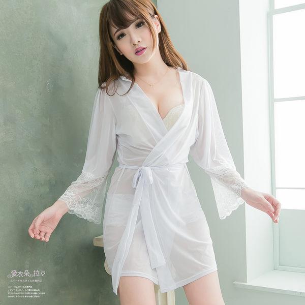 睡袍 蕾絲罩衫 6月新娘白紗性感睡衣 冷氣房性感內衣外搭顯瘦睡袍- 愛衣朵拉