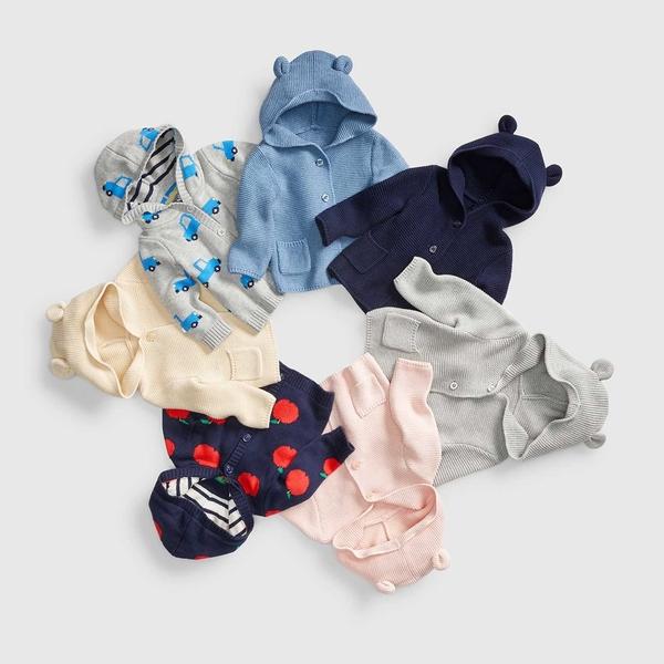 Gap男女嬰兒 純棉熊耳連帽針織長袖開襟衫 柔軟彈力寶寶外套 215587-米白色