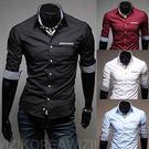 七分袖 襯衫男式襯衣 紅色襯衫 Eimo