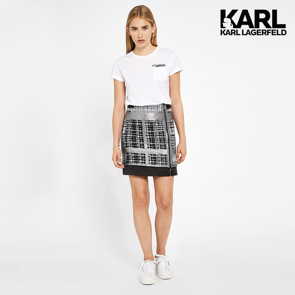 【KARL LAGERFELD】BOUCLE羊毛拉鍊短裙-銀灰 (原廠公司貨)
