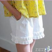 夏裝女童短褲外穿白色中大童韓版休閒百搭薄款純棉翻邊熱褲小女孩   米娜小鋪