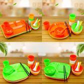 密胺多格快餐盤橢圓長方形塑料盤分格盤子食堂飯盤套裝餐具商用具   酷男精品館