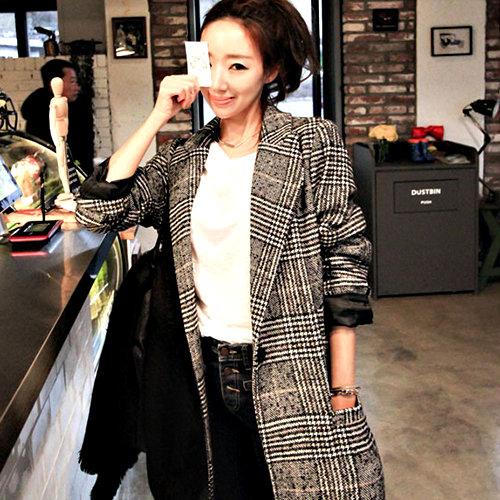 克妹Ke-Mei【AT54940】KOREA韓國東大門氣質名媛經典格紋毛尼長大衣
