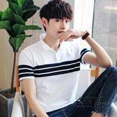 純棉短袖t恤男士翻領夏季韓版修身條紋半袖體恤休閒Polo衫潮男裝 衣櫥の秘密