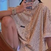 復古短袖襯衫女薄款設計感小眾方領上衣鹽系襯衣【毒家貨源】