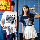 T恤-情侶裝-電影打板印花男女純棉短袖上衣(兩件)2色68r66【巴黎精品】