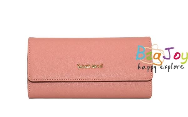 Roberto Mocali 諾貝兔 風尚牛皮系列 三折扣式長夾 RM-77306 橘粉色