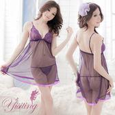 蕾絲性感睡衣 紫花情迷!性感蕾絲薄紗透視睡衣 情趣內睡衣 情趣睡衣 女衣