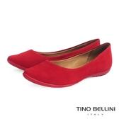 Tino Bellini 巴西進口細緻壓紋真皮舒適娃娃鞋_紅 A63028A  2017SS 歐洲進口款