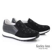 ★2019秋冬★Keeley Ann我的日常生活 字母水鑽全真皮休閒鞋(黑色) -Ann系列