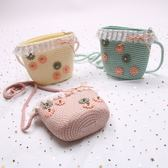 兒童包包 公主斜挎包可愛5-7歲迷你兒童草編包女童寶寶斜跨小包包 滿天星