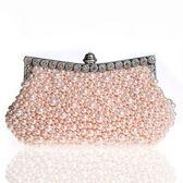 珍珠晚宴包-鑲鑽時尚婚禮派對女手拿鏈條包3色71as8[巴黎精品]