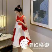 連身裙-夏季新款拼接設計感圓領可愛無袖很仙的連衣裙紅色韓版小清新-奇幻樂園
