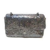 CHANEL 香奈兒 銀色亮片銀釦雙蓋肩背包 Sequins Classic Flap Bag【BRAND OFF】