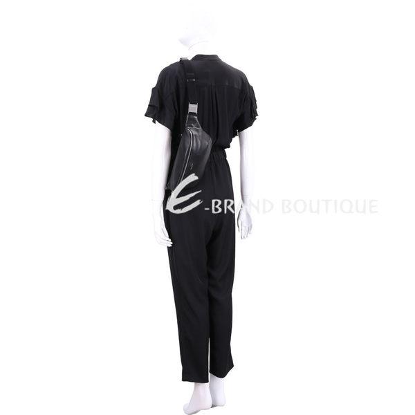 YSL Saint Laurent 銀字烙印小牛皮胸肩背/腰包(黑色) 1920606-01