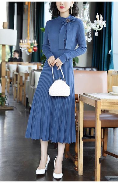 (現貨+預購 RN-girls)-精品氣質百摺針織長袖袖洋裝