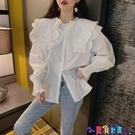 泡泡袖上衣 超仙女娃娃領荷葉邊白色雪紡襯衫寬鬆設計感小眾上衣早秋長袖襯衣寶貝計畫 上新