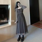 網紗連身裙大碼裙子秋冬新款方領網紗拼接仙女裙胖MM設計感顯瘦長袖洋裝女 快速出貨