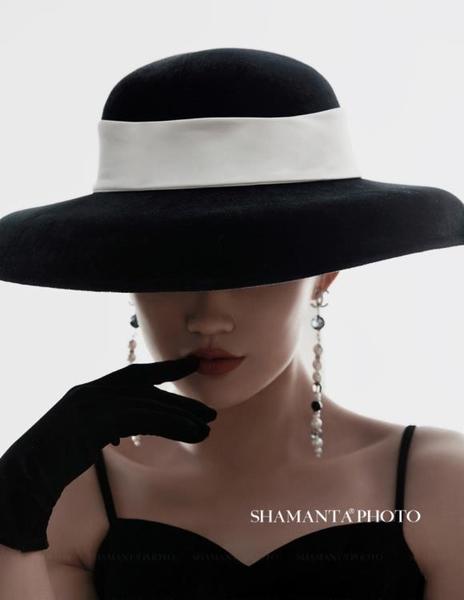 法式復古英倫大檐休閑圓頂帽子女士赫本復古大禮帽影樓拍照帽飾