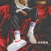 中筒襪 高筒字母藍紅色拼接條長筒字母白襪子潮滑板襪簡約街拍型男襪子潮 2雙