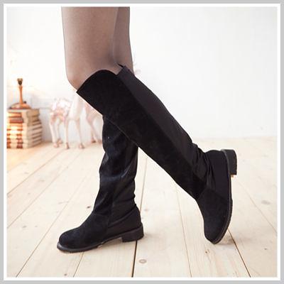 ☆雙兒網☆Lazy or pretty 【W2080】歐美時尚絨布後接彈性布膝上靴