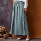 棉麻闊腿褲女2020春季新款棉麻民族風亞麻九分褲寬鬆休閒褲子