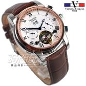 valentino coupeau 范倫鐵諾 羅馬 自動上鍊機械錶 不鏽鋼 防水手錶 男錶 日期顯示 皮帶錶 V61369白咖