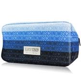 MOSCHINO 莫斯奇諾 藍色漸層LOGO化妝包(26X10X13.5CM)-公司貨