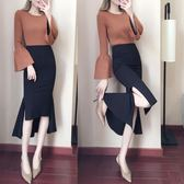 大碼顯瘦包臀荷葉邊裙高腰修身半身裙長裙氣質魚尾裙 東京衣櫃