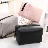 韓國化妝品收納包便攜防水小號可愛簡約化妝包女大容量小方包中包 芥末原創