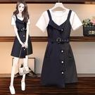 VK精品服飾 韓國風時尚不對稱拼接OL氣質條紋套裝短袖裙裝