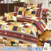 鋪棉床包 100%精梳棉 全舖棉床包兩用被四件組 雙人加大6*6.2尺 Best寢飾 FJ693-1