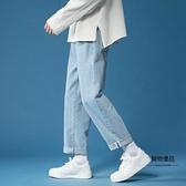 夏季牛仔褲男超薄寬鬆直筒九分褲青少年耐磨顯高休閒百搭褲子【聚物優品】