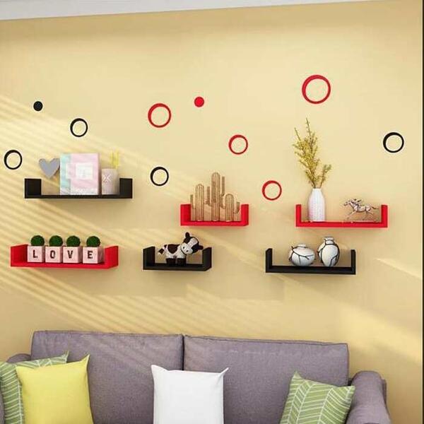 墻上書架 客廳裝飾架 擱板壁掛創意隔板臥室簡約置物架墻壁免打孔