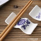 10個裝兩用青花瓷筷子架筷托手繪陶瓷擺臺筷枕酒店家用 東京衣秀