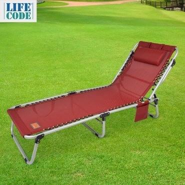 【LIFECODE】特斯林可調段零重力折疊床(可平躺)-附枕頭+置物側袋-酒紅