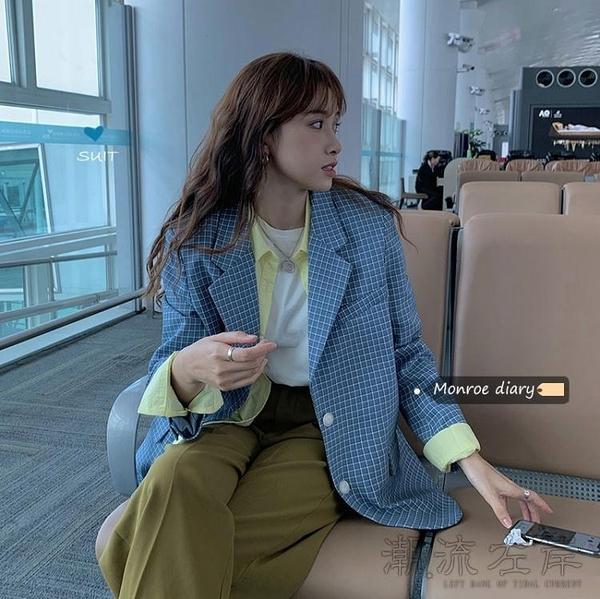 秋季韓版chic格子西裝外套女新款寬鬆顯瘦長袖小西服上衣潮