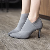2019春秋新款高跟短靴女彈力靴中跟單靴尖頭馬丁靴顯瘦細跟及踝靴mks歐歐