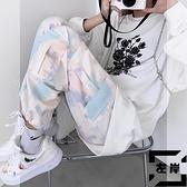 扎染束腳工裝褲女寬鬆春秋機能風休閒褲潮【左岸男裝】