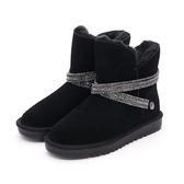 MICHELLE PARK 閃耀魅力 防水2WAY水鑽閃亮環帶雪靴-黑色