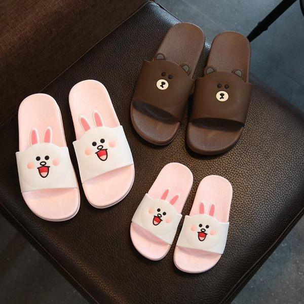 親子卡通拖鞋涼鞋女夏室內居家防滑厚底家用拖鞋涼鞋洗澡浴室兒童家居拖鞋涼鞋