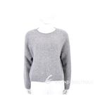 VINCE 喀什米爾灰色坑條邊圓領針織羊毛衫 1940282-06