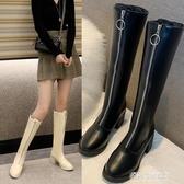 長靴/高筒靴-高跟粗跟長筒靴女不過膝長靴高筒馬丁靴帥氣騎士靴網紅前拉鍊皮靴 多麗絲