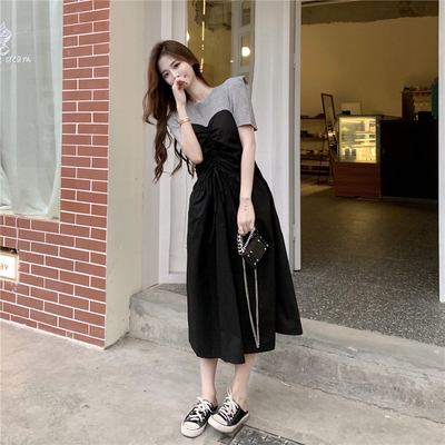 洋裝大碼設計感短袖泡泡袖收腰中長裙子女2F041-C 胖妹大碼女裝