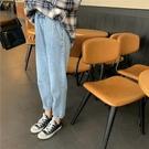 牛仔褲秋季韓版女裝高腰寬鬆顯瘦牛仔褲哈倫褲長褲卷邊牛仔褲潮 新品