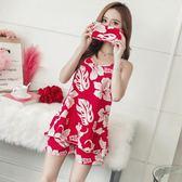 睡衣女春夏季短袖純棉吊帶兩件套裝韓版清新冰絲學生可外穿家居服