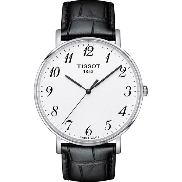 TISSOT 天梭 Everytime 經典雋永石英手錶-銀x黑/42mm T1096101603200