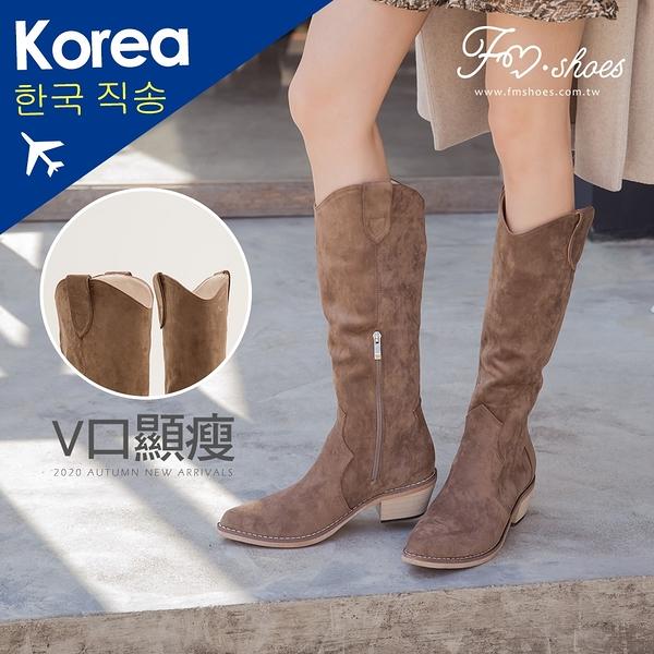 靴.蜜桃絨V口西部牛仔長靴(棕)-FM時尚美鞋-韓國精選.Ivory